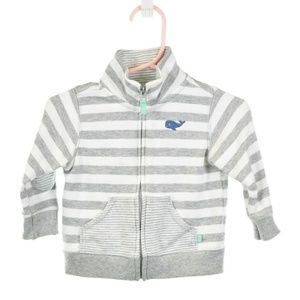 Carter's Gray & White Striped Zip-Up Sweatshirt